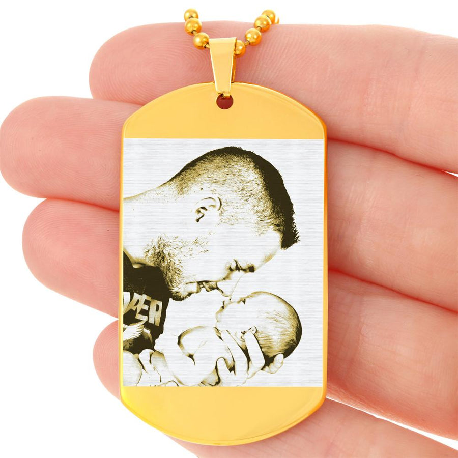 Photo Engraved Dog Tag Gold