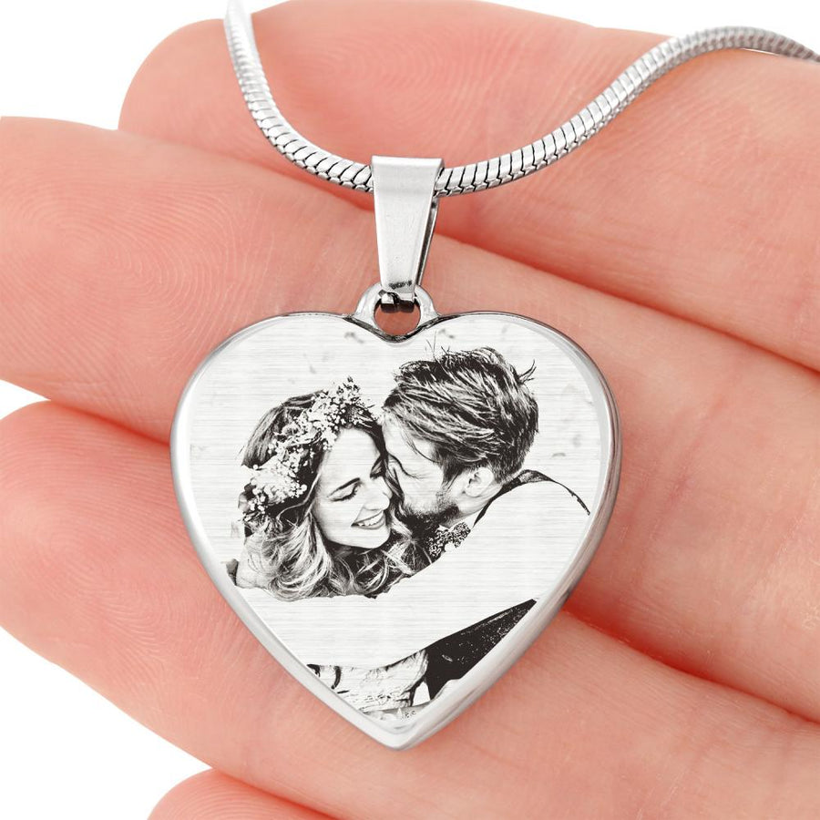 Photo Engraved Heart Necklace - Stainless Steel