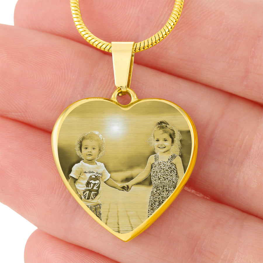Laser Engraved Heart Necklace - 18k Gold Plated