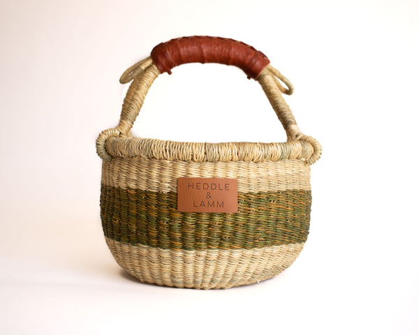 Ami Green Stripe Mini Bolga Basket