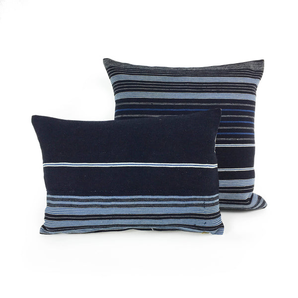 Adaego: Black Striped Mini Lumbar African Throw Pillow - Heddle & Lamm