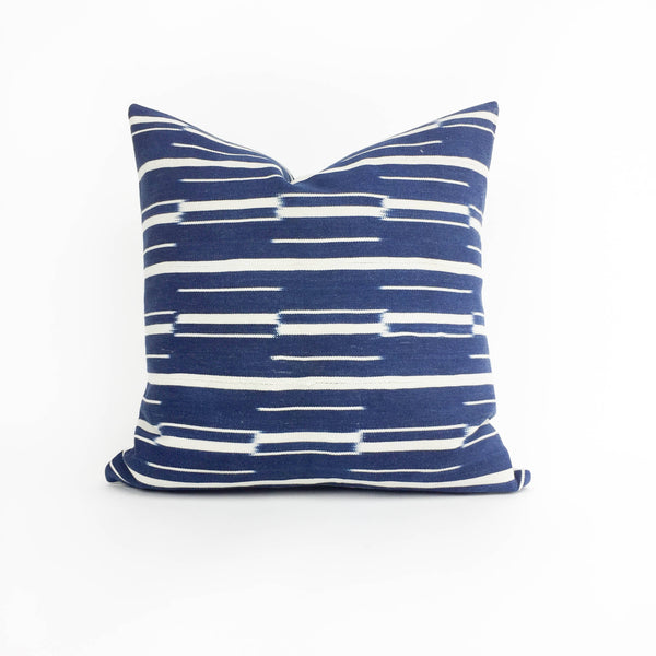 "Adaku: 18"" Blue & White African Throw Pillow - Heddle & Lamm"