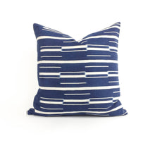 "Adaku: 18"" Blue & White African Throw Pillow featured by top US sustainable home decor online store, Heddle & Lamm"