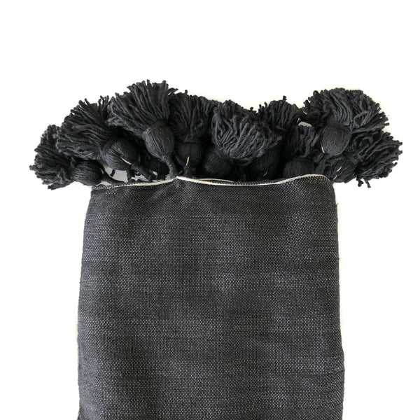 Lunja Pom Pom Throw Blanket - Black - Heddle & Lamm