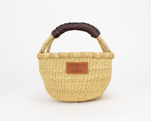 Kandiga Mini Bolga Basket - Dark Brown Handle