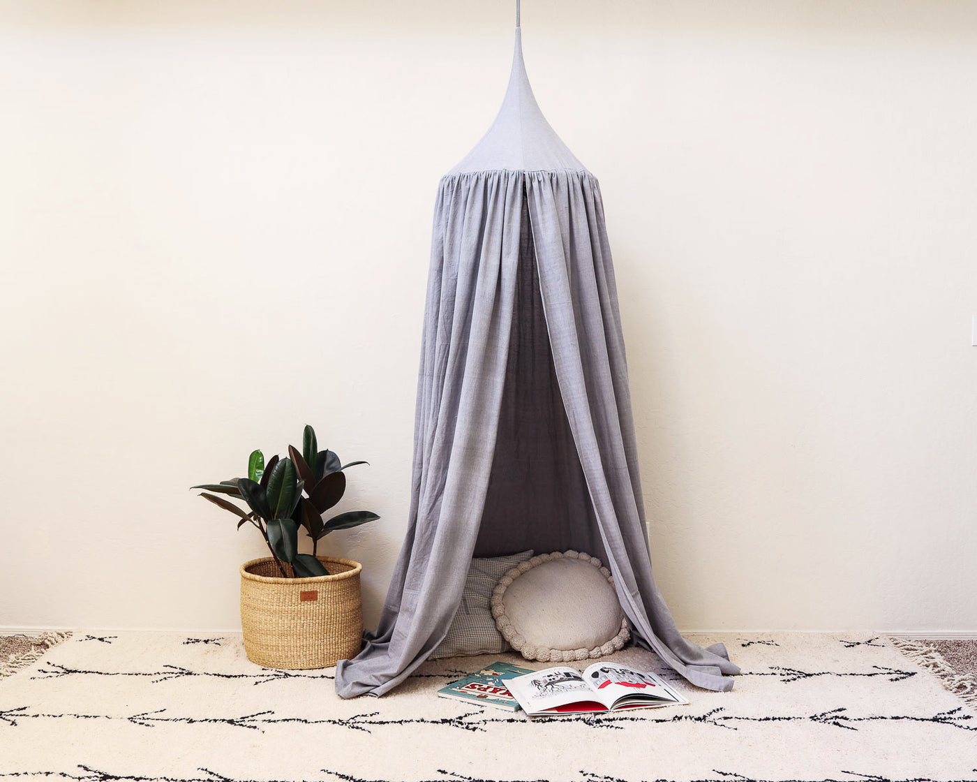 Kids Bed Canopy - Mist Blue - Heddle & Lamm