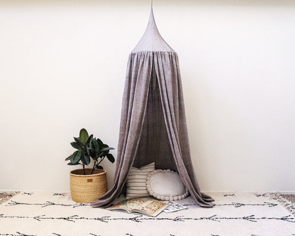 Kids Bed Canopy - Charcoal - Heddle & Lamm
