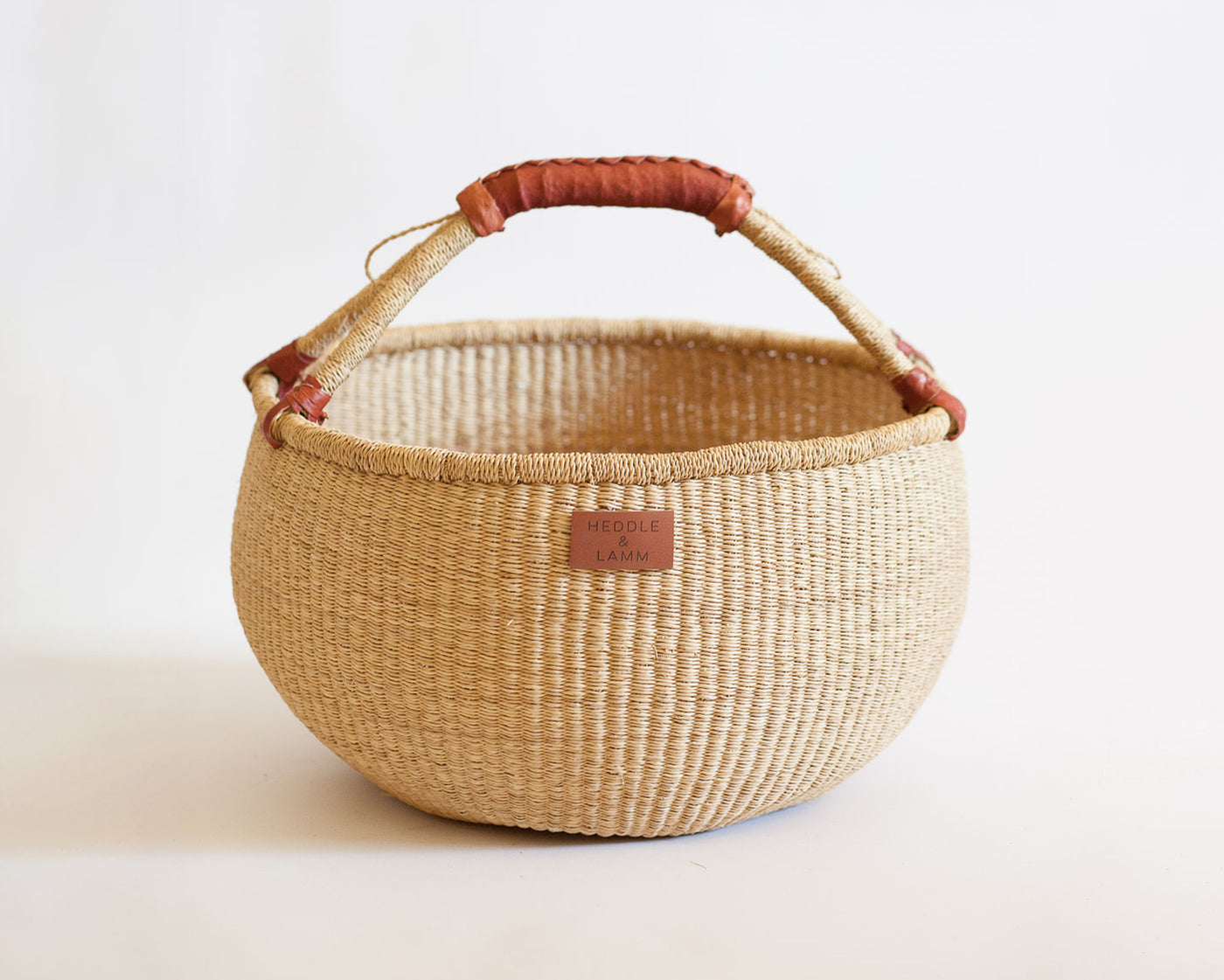 Kandiga Bolga Basket - Brown Handle - Heddle & Lamm