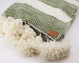 Lalla Pom Pom Throw Blanket - Olive - Heddle & Lamm