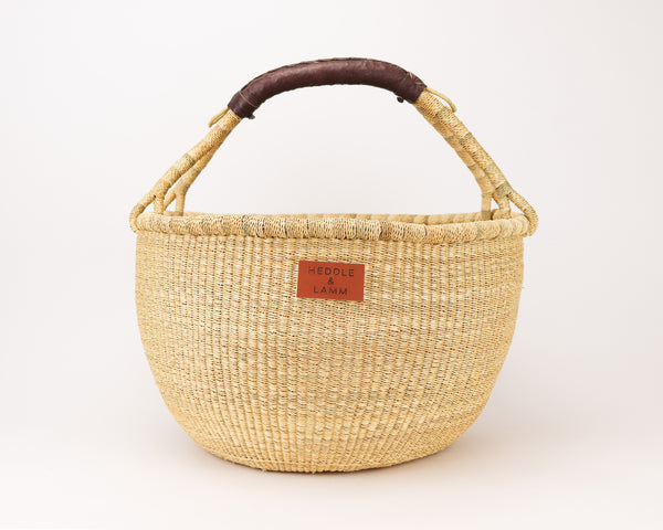Kandiga Bolga Basket - Dark Brown Handle - Heddle & Lamm