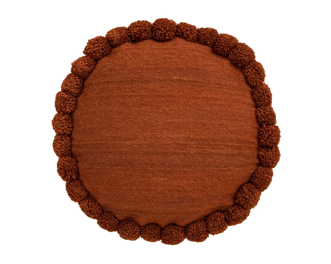 Lina Round Pom Cover - Rust Wool - Heddle & Lamm