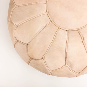 Amina Leather Moroccan Pouf natural color featured by top sustainable home decor store, Heddle and Lamm