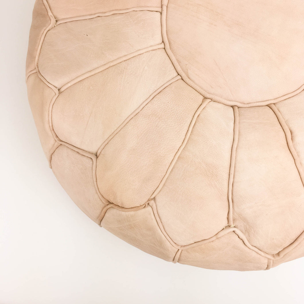 Amina Leather Pouf - Natural