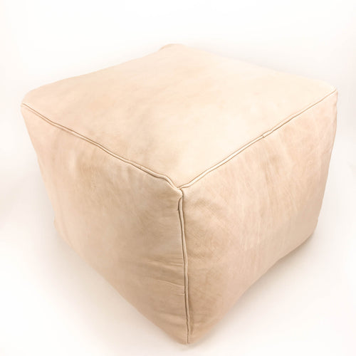 Aryn Leather Moroccan Square Pouf natural color featured by top sustainable home decor store, Heddle and Lamm