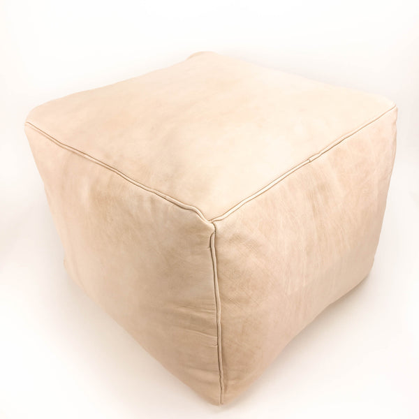 Aryn Leather Pouf - Natural - Heddle & Lamm