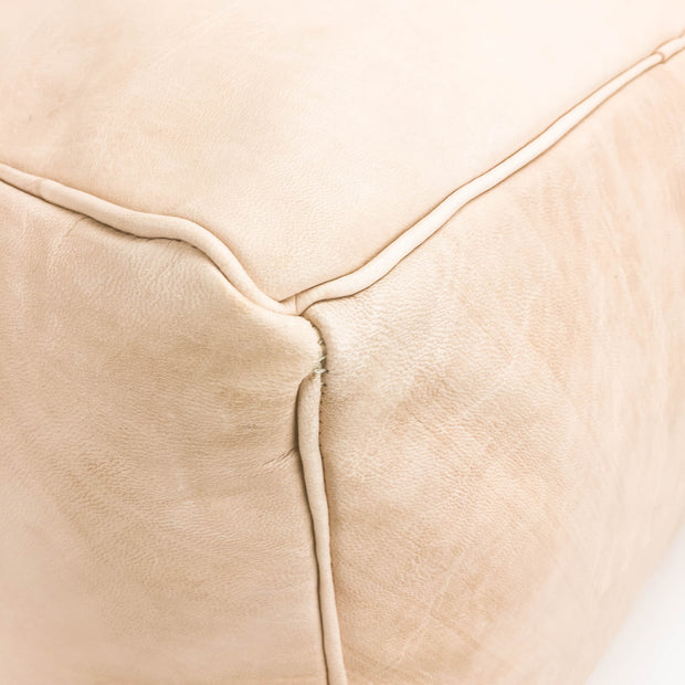 Aryn Leather Pouf - Natural 1