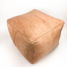 Aryn Leather Moroccan Pouf in Medium Brown featured by top sustainable home decor store, Heddle and Lamm