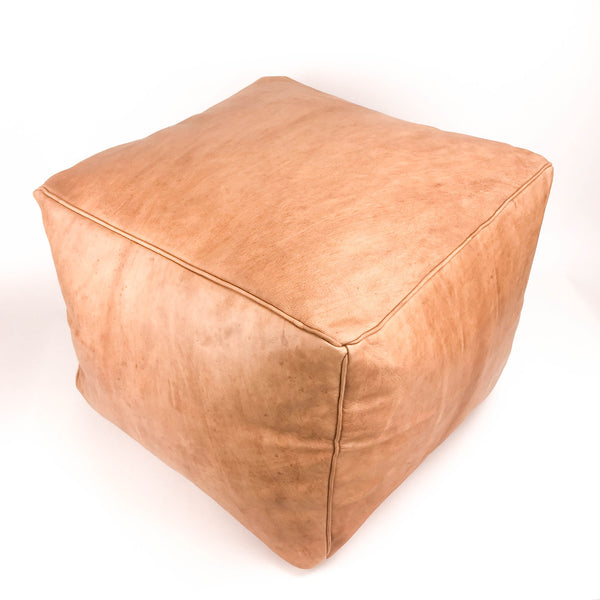 Aryn Leather Moroccan Pouf - Medium Brown - Heddle & Lamm