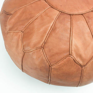 Amina Leather Moroccan Pouf medium brown featured by top sustainable home decor store, Heddle and Lamm