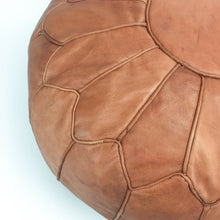 Amina Leather Pouf - Medium Brown