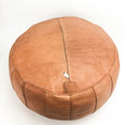 Amina Leather Moroccan Pouf - Medium Brown - Heddle & Lamm