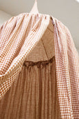 Kids Bed Canopy - Rust Brown Gingham Pattern - Heddle & Lamm