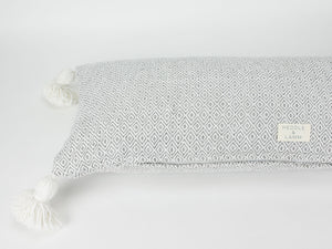 "14"" x 36"" Gray Diamond Pattern Pom Pom Long Lumbar Pillow Cover - Handwoven - Moroccan - Cotton -"