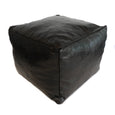 Aryn Leather Moroccan Pouf - Black - Heddle & Lamm