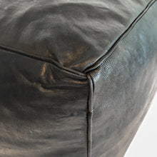 Aryn Leather Pouf - Black