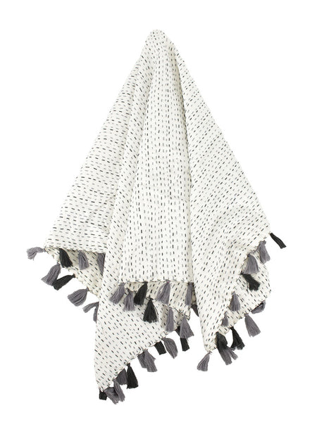 Indira Pom Pom Baby Quilt - Gray featured by top US fairtrade home goods store, Heddle & Lamm