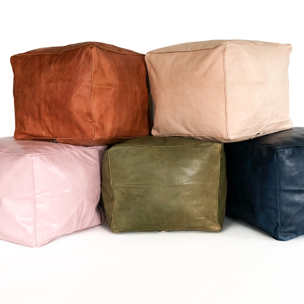Aryn Leather Moroccan Kids Pouf - Heddle & Lamm