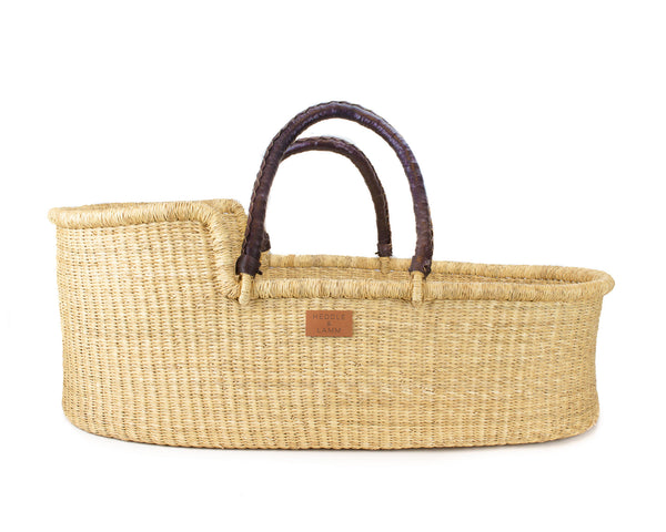 (Back-Order) Pelu Moses Basket - Dark Brown Handle - Heddle & Lamm