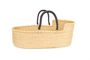 Pelu Moses Basket with dark brown handle featured by top US fair trade home store, Heddle & Lamm