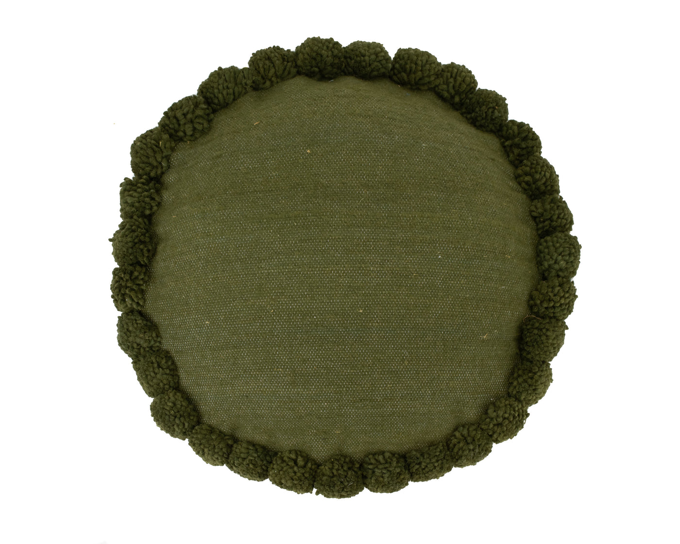 Lina Round Pom Cover - Olive Wool