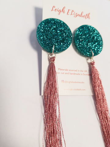 Glitter and Tassel Earrings