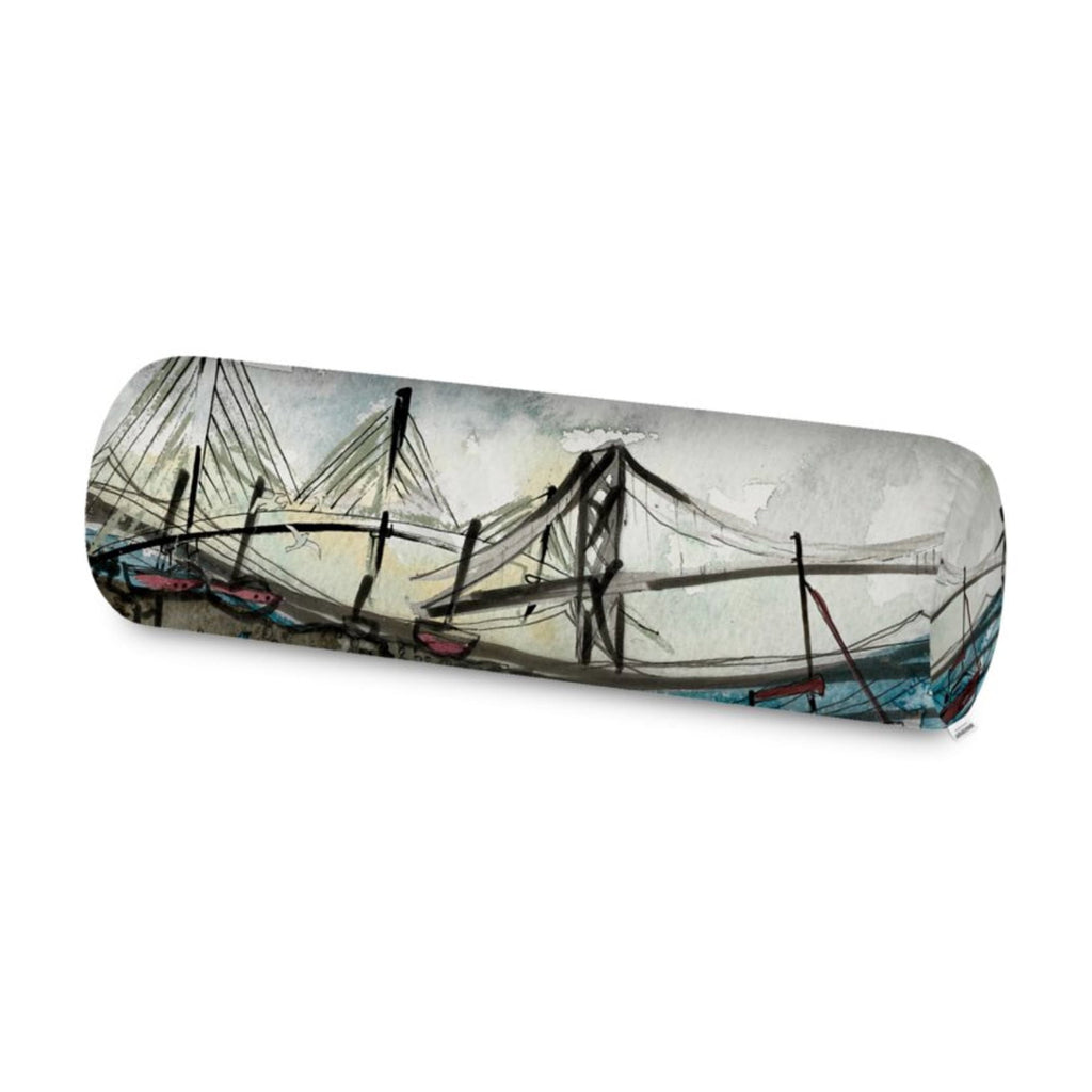 Back view of the Harbour Lane Home 3 Bridges Bolster Cushion