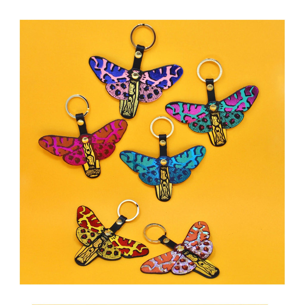 The Ark Butterfly Fob leather keyrings with metallic foil