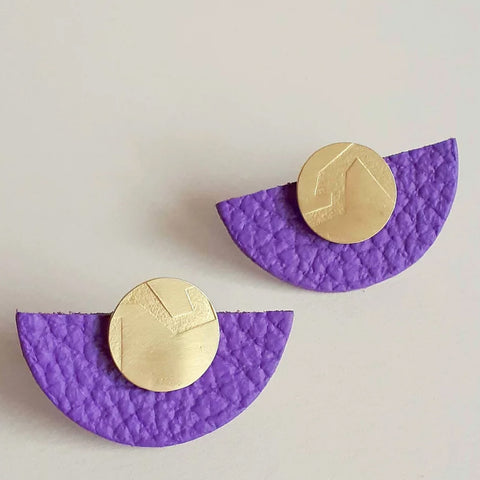 Purple Large Semi Circle Play Earrings