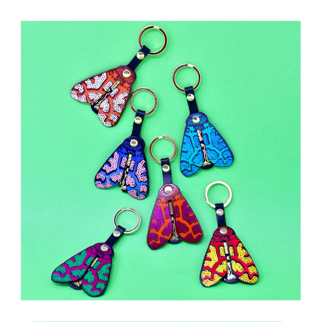 Colourful leather moth shaped key fob from ARK Colour Collective