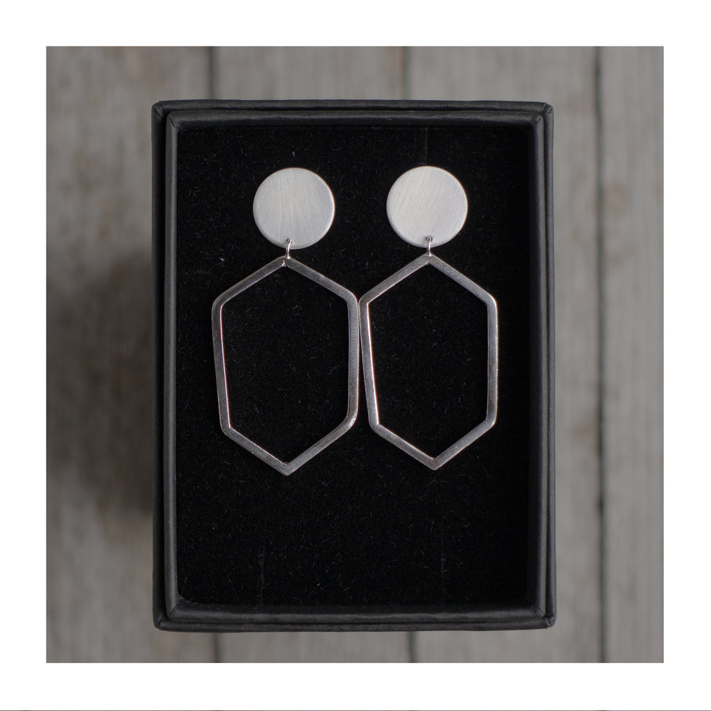 Image of O / Hexagon Geometric Statement Earrings by Aimi Cairns