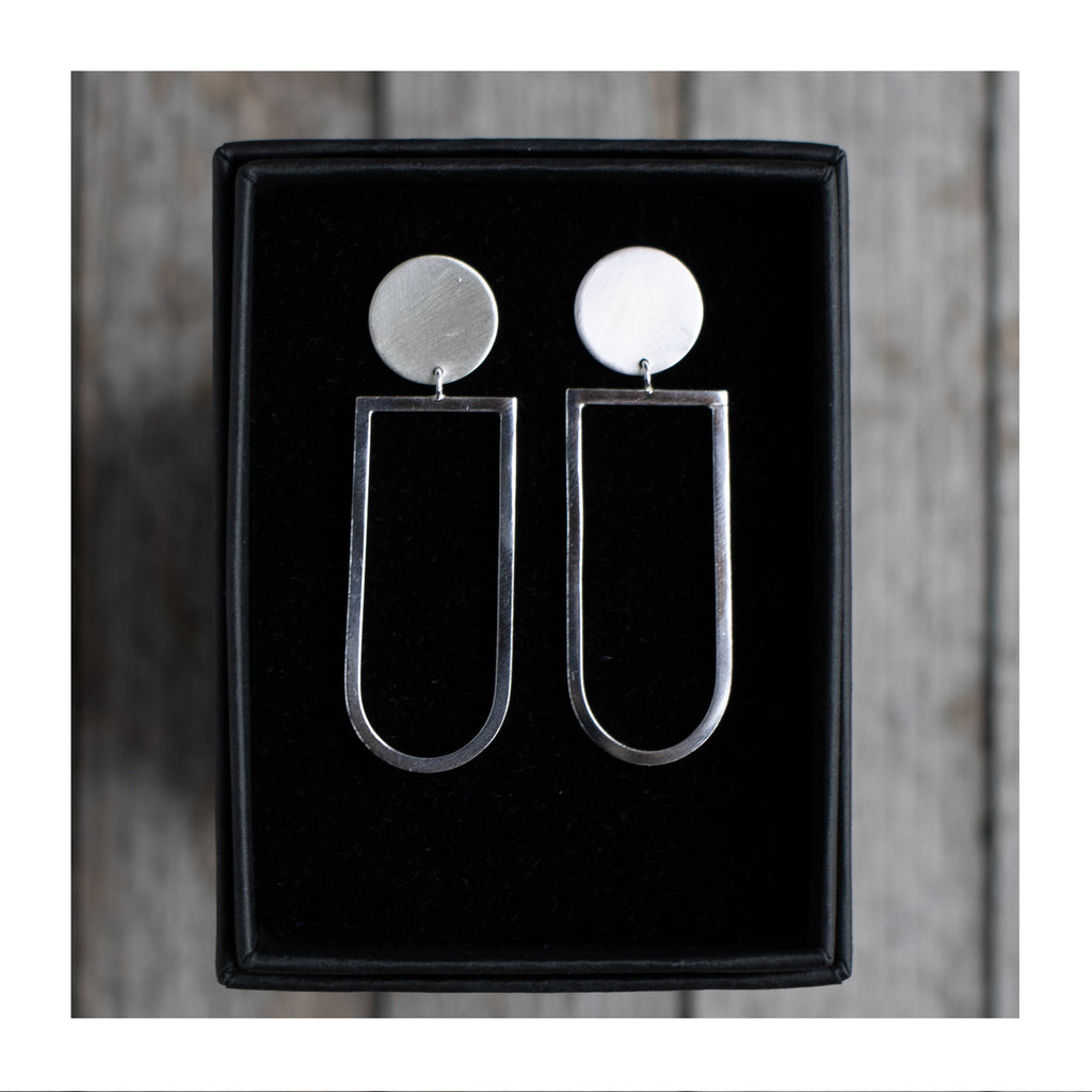 Image of the O / Long U Geometric Statement Earrings by Aimi Cairns