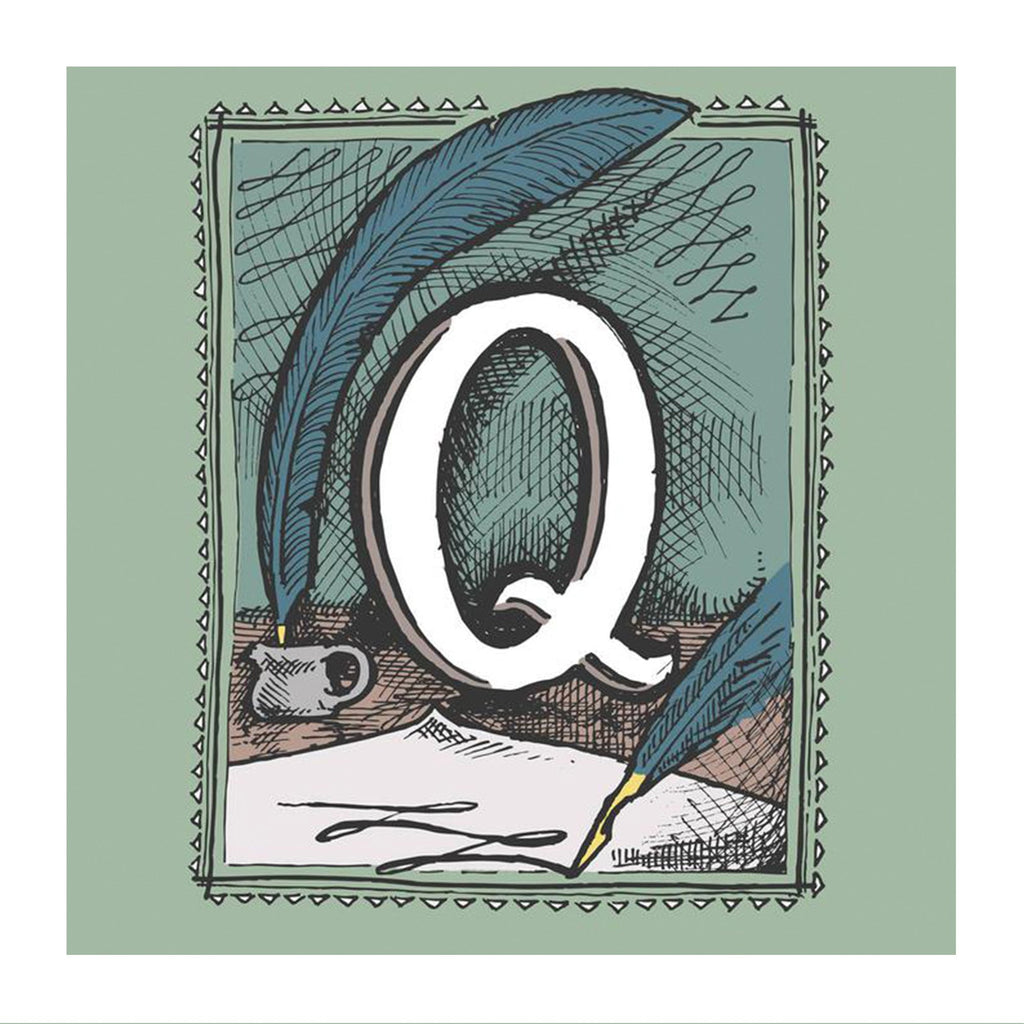 Close up image of the Q from the Rho Rho Alphabet print