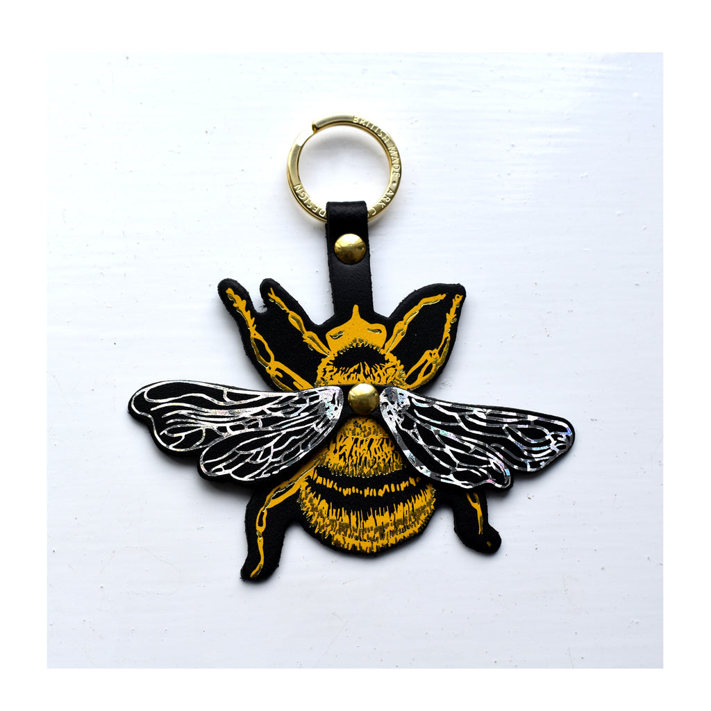 Yellow and silver metallic leather bee key fob by Ark