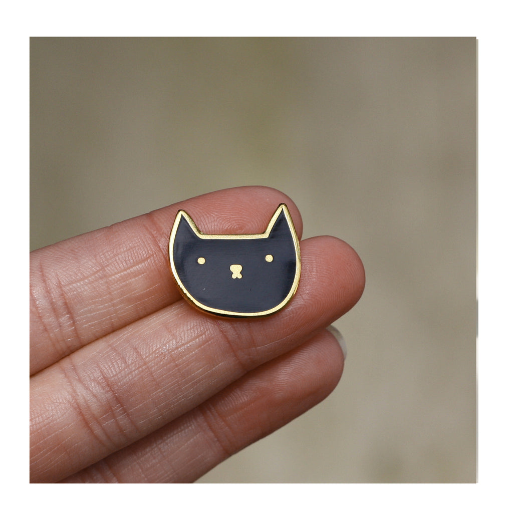 Black Cat Enamel Pin Badge by Claire Paul