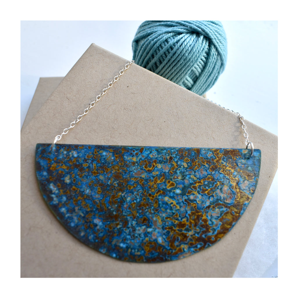 Medium Brass Crescent Patinated necklace with sterling silver chain, by Stephanie Hopkins