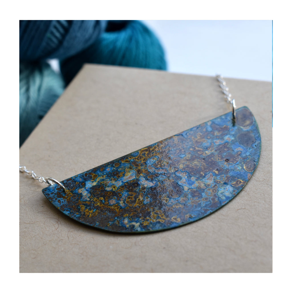 Small Brass Crescent Patinated necklace with sterling silver chain, by Stephanie Hopkins