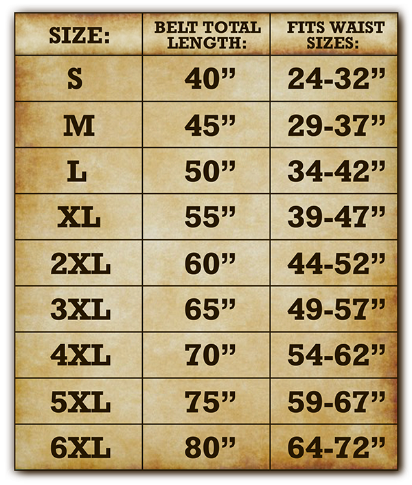 Unisex Men's and Women's Extra Wide Belt Size Chart