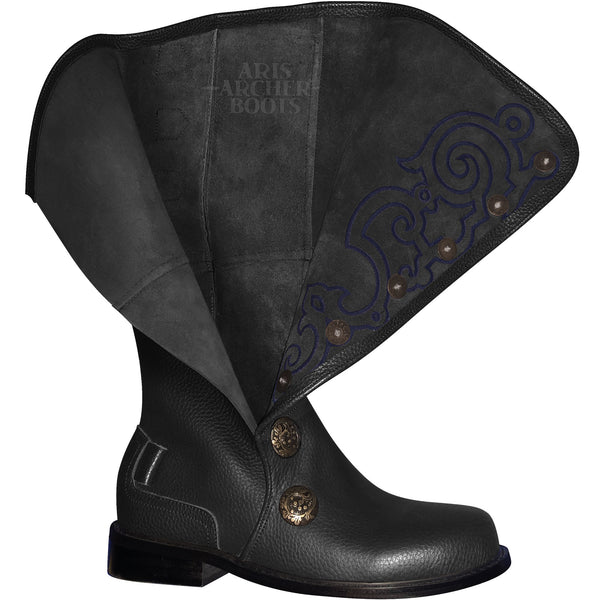 Men's Black Leather Nobleman's Boots with Blue Embroidery