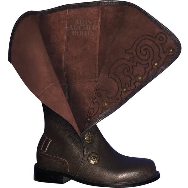 Men's Brown Leather Nobleman's Boots with Brown Embroidery