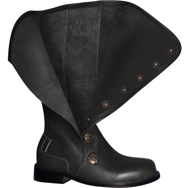 Men's Black Leather Renaissance Boots with Buckled Straps